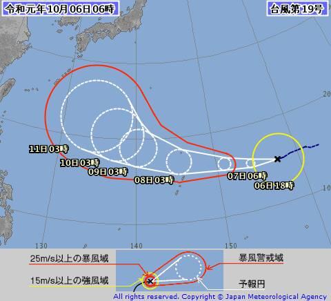 台風19号の進路図